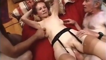 Mature Stockings Granny Saggy Tits Threesome