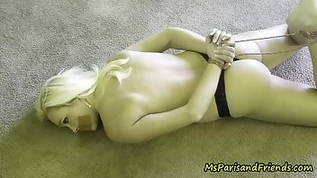 Hogtied Blonde MILF Thong Amateur