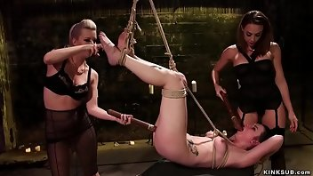 Electro Lesbian Ass Gagging Threesome